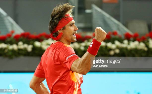 David Ferrer of Spain in action during his last match on tour against Alexander Zverev of Germany on day 5 of the Mutua Madrid Open at La Caja Magica...