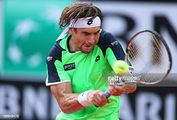 David Ferrer of Spain in action during his quarter final match against Rafael Nadal of Spain on day six of the Internazionali BNL d'Italia 2013 at...