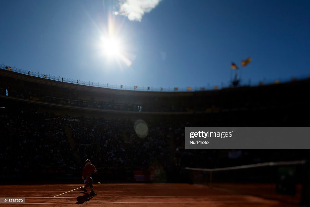 David Ferrer of Spain in action in his match against Philipp Kohlschreiber of Germany during day three of the Davis Cup World Group Quarter Finals match between Spain and Germany at Plaza de Toros de Valencia on April 8, 2018 in Valencia, Spain