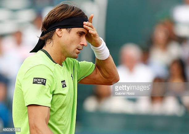 David Ferrer of Spain looks dejected during an exhibition at Jockey Club on November 17 2013 in Lima Peru
