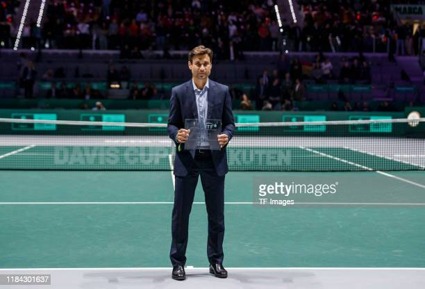 David Ferrer of Spain looks on during Day Three of the 2019 David Cup at La Caja Magica on November 20 2019 in Madrid Spain