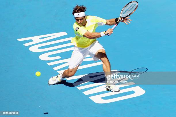 David Ferrer of Spain plays a backhand during the Men's Final match against David Nalbandian of Argentina on day six of the Heineken Open at ASB...