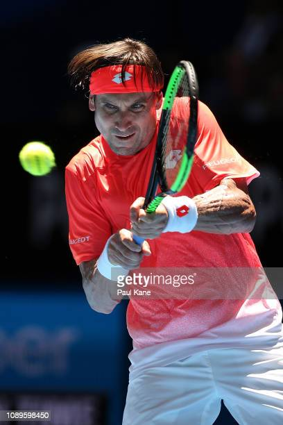 David Ferrer of Spain plays a backhand to Lucas Pouille of France during day seven of the 2019 Hopman Cup at RAC Arena on January 04 2019 in Perth...