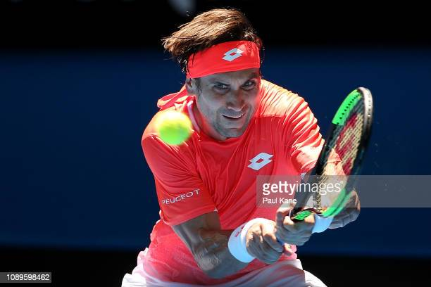 David Ferrer of Spain plays a backhand to Lucas Pouille of France during day seven of the 2019 Hopman Cup at RAC Arena on January 04, 2019 in Perth,...