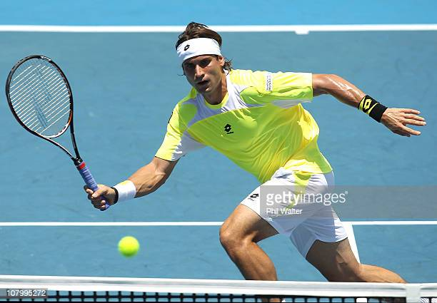 David Ferrer of Spain plays a forehand during his match against Tobais Kamke of Germany on day three of the Heineken Open at the ASB Tennis Centre on...