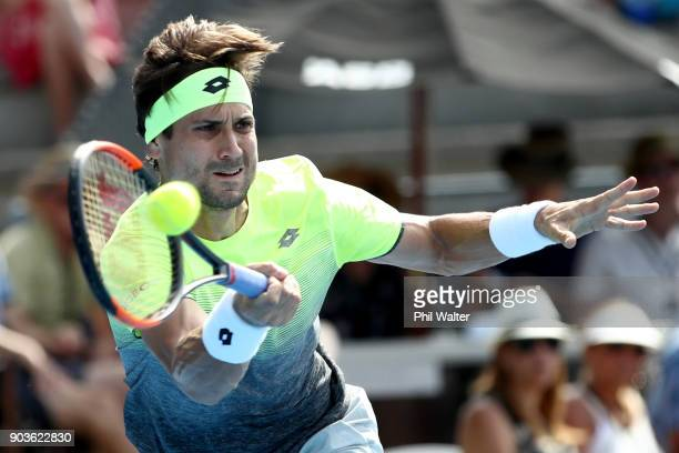 David Ferrer of Spain plays a forehand during his quarterfinal match against Hyeon Chung of Korea on day four of the ASB Men's Classic at ASB Tennis...