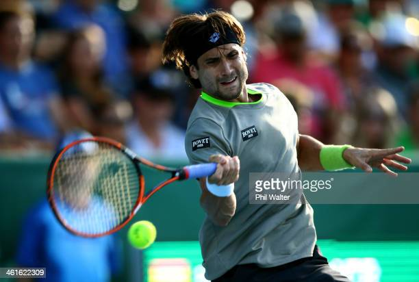 David Ferrer of Spain plays a forehand during his semi final match against YenHsun Lu of Chinese Tapei during day five of the Heineken Open at the...
