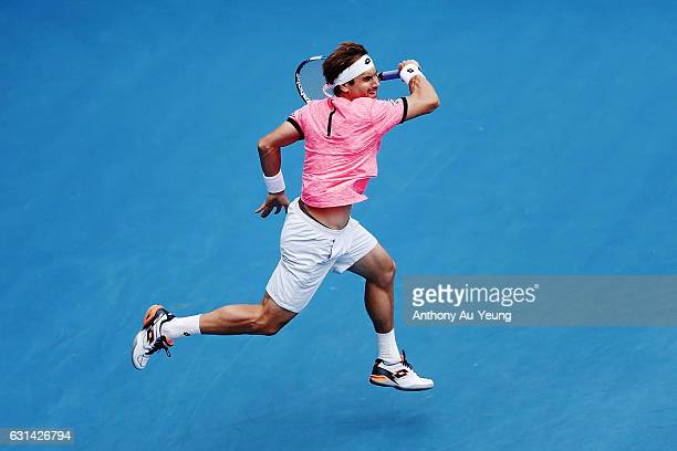 David Ferrer of Spain plays a forehand in his match against Robin Haase of Netherlands on day ten of the ASB Classic on January 11 2017 in Auckland...