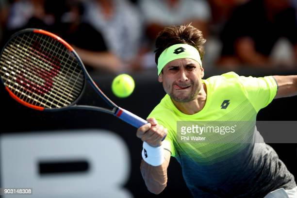 David Ferrer of Spain plays a forehand in his second round match against Joao Sousa of Portugal on day three of the ASB Men's Classic at ASB Tennis...