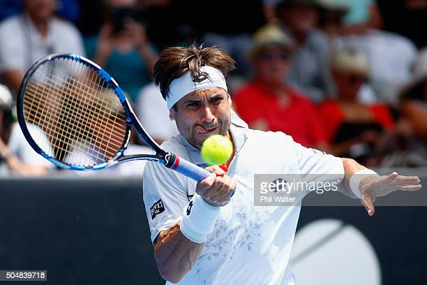 David Ferrer of Spain plays a forehand in his singles match against Lukas Rosol of the Czech Republic during the 2016 ASB Classic at the ASB Tennis...