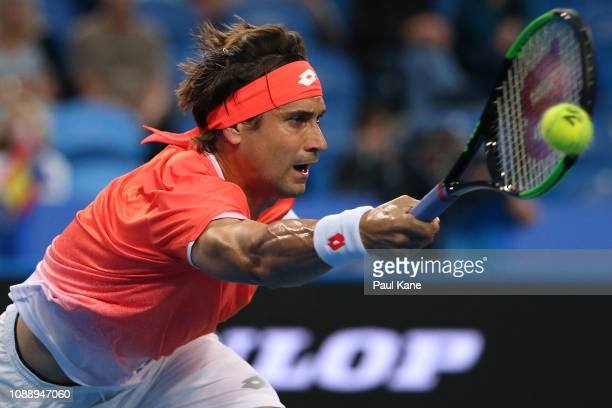 David Ferrer of Spain plays a forehand to Matt Ebden of Australia during day five of the 2019 Hopman Cup at RAC Arena on January 02 2019 in Perth...