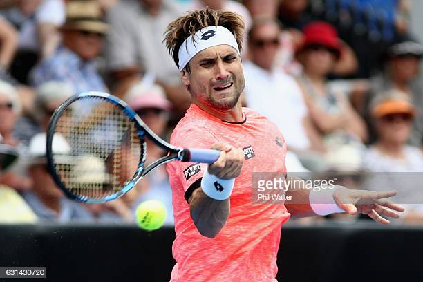David Ferrer of Spain plays a return during the mens singles match between Robin Haase of the Netherlands and David Ferrer of Spain on day 10 of the...