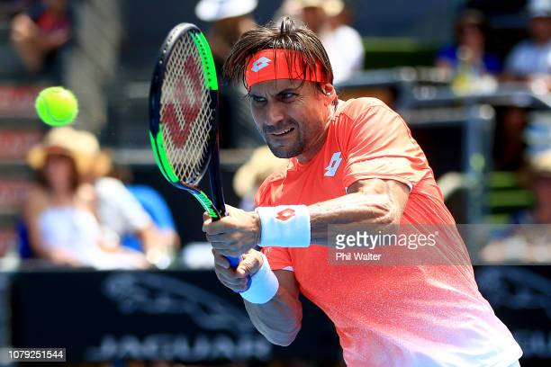 David Ferrer of Spain plays a return in his Mens Singles match against Robin Haase of the Netherlands during the 2019 ASB Classic at the ASB Tennis...