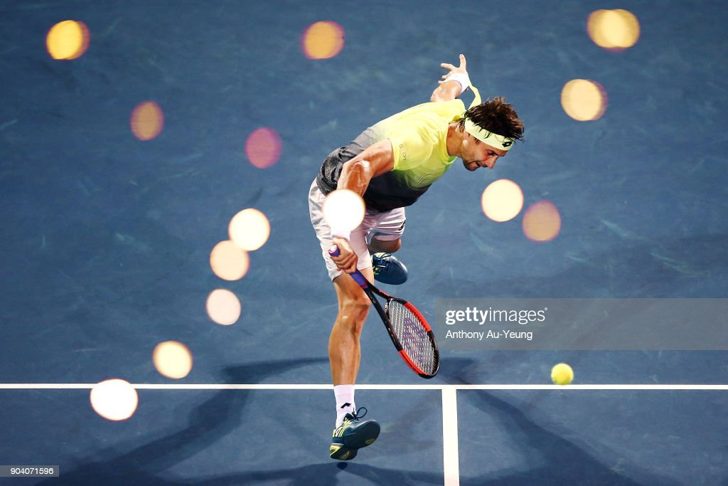 David Ferrer of Spain plays a volley in his semi final match against Juan Martin del Potro of Argentina during day five of the 2018 ASB Men's Classic at the ASB Tennis Centre on January 12, 2018 in Auckland, New Zealand.