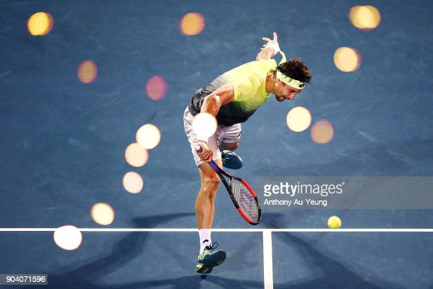 David Ferrer of Spain plays a volley in his semi final match against Juan Martin del Potro of Argentina during day five of the 2018 ASB Men's Classic...