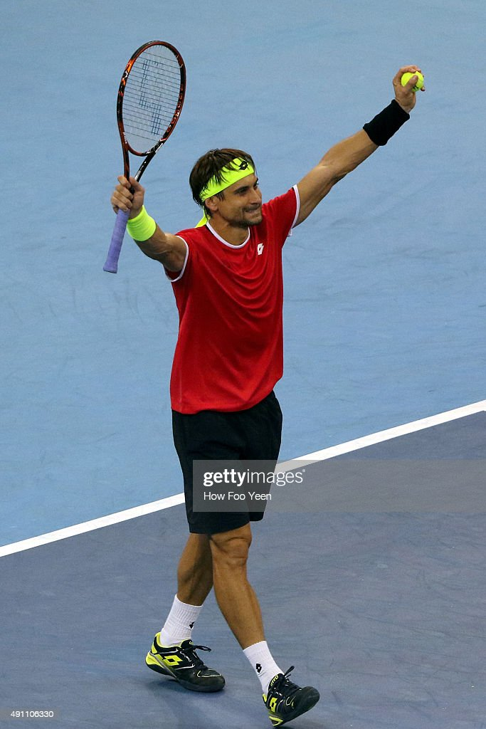 David Ferrer of Spain reacts to his win after defeating Benjamin Becker of Germany 3-6, 6-2, 6-4 during the 2015 ATP Malaysian Open at Bukit Jalil National Stadium on October 3, 2015 in Kuala Lumpur, Malaysia.