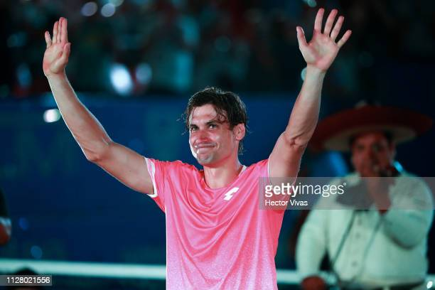 David Ferrer of Spain receives a tribute after having retired during the match between David Ferrer of Spain and Alexander Zverev of Germany as part...