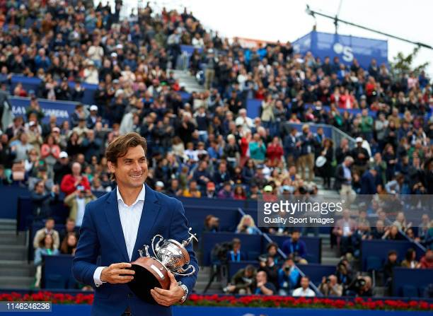 David Ferrer of Spain receives a tribute ahead the round of final match between Dominic Thiem of Austria and Daniil Medvedev of Russia on day seven...