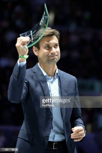 David Ferrer of Spain recibes honors for his career as tennis player during the Day 3 of the 2019 Davis Cup at La Caja Magica on November 20, 2019 in...