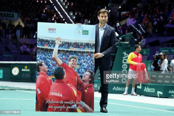 David Ferrer of Spain recibes honors for his career as tennis player during the Day 3 of the 2019 Davis Cup at La Caja Magica on November 20 2019 in...
