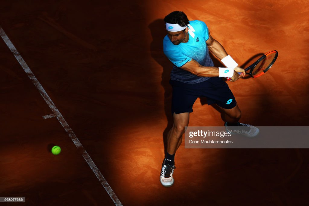David Ferrer of Spain returns a backhand in his match against Jack Sock of USA during day one of the Internazionali BNL d'Italia 2018 tennis at Foro Italico on May 13, 2018 in Rome, Italy.