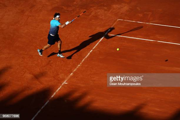 David Ferrer of Spain returns a forehand in his match against Jack Sock of USA during day one of the Internazionali BNL d'Italia 2018 tennis at Foro...