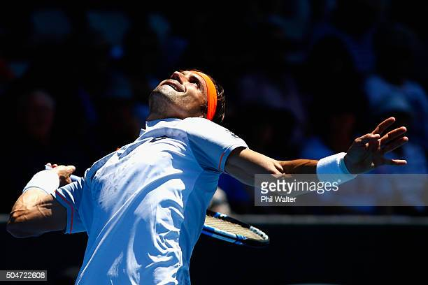 David Ferrer of Spain serves against Matthew Barton of Australia on Day 3 of the ASB Classic on January 13, 2016 in Auckland, New Zealand.