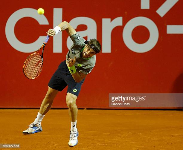 David Ferrer of Spain serves during a tennis match between David Ferrer and Albert Ramos as part of ATP Buenos Aires Copa Claro on February 14 2014...