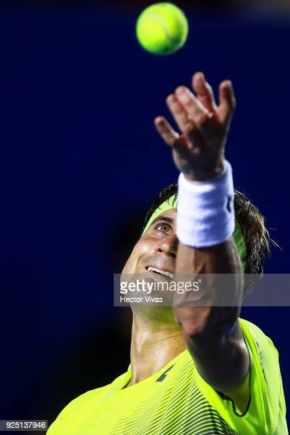 David Ferrer of Spain serves during the match between David Ferrer of Spain and Andrey Rublev of Russia as part of the Telcel Mexican Open 2018 at...