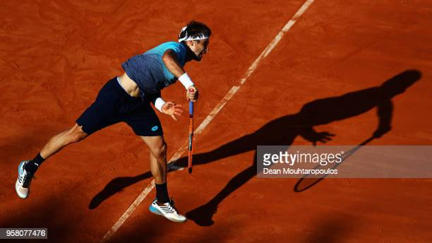 David Ferrer of Spain serves in his match against Jack Sock of USA during day one of the Internazionali BNL d'Italia 2018 tennis at Foro Italico on...