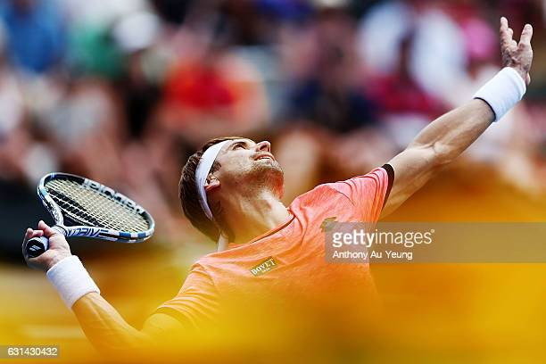 David Ferrer of Spain serves in his match against Robin Haase of Netherlands on day ten of the ASB Classic on January 11 2017 in Auckland New Zealand