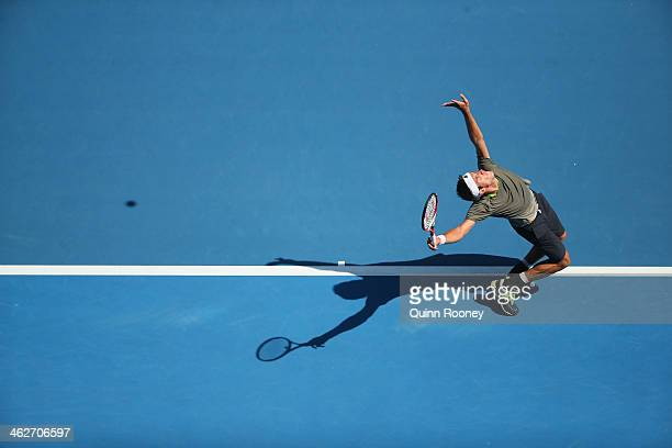 David Ferrer of Spain serves in his second round match against Adrian Mannarino of France during day three of the 2014 Australian Open at Melbourne...