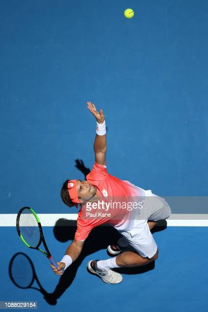 David Ferrer of Spain serves to Alexander Zverev of Germany during day two of the 2019 Hopman Cup at RAC Arena on December 30 2018 in Perth Australia
