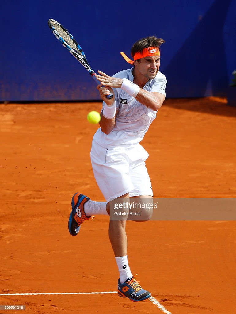 David Ferrer of Spain takes a backhand shot during a match between David Ferrer of Spain and Renzo Olivo of Argentina as part of ATP Argentina Open at Buenos Aires Lawn Tennis Club on February 11, 2016 in Buenos Aires, Argentina.