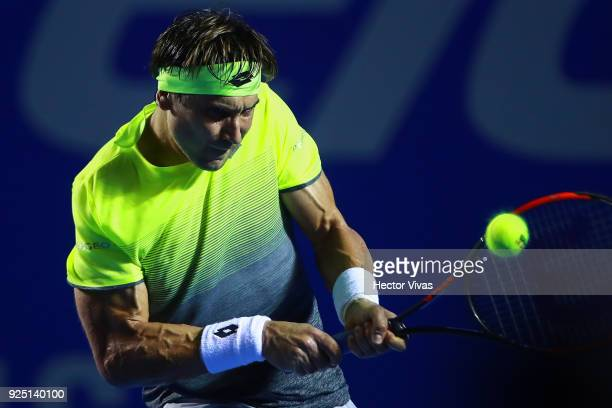 David Ferrer of Spain takes a backhand shot during the match between David Ferrer of Spain and Andrey Rublev of Russia as part of the Telcel Mexican...