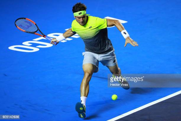 David Ferrer of Spain takes a forehand shot during the match between David Ferrer of Spain and Andrey Rublev of Russia as part of the Telcel Mexican...