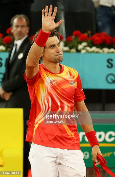 David Ferrer of Spain thanks the crowd following his last match on tour against Alexander Zverev of Germany on day 5 of the Mutua Madrid Open at La...
