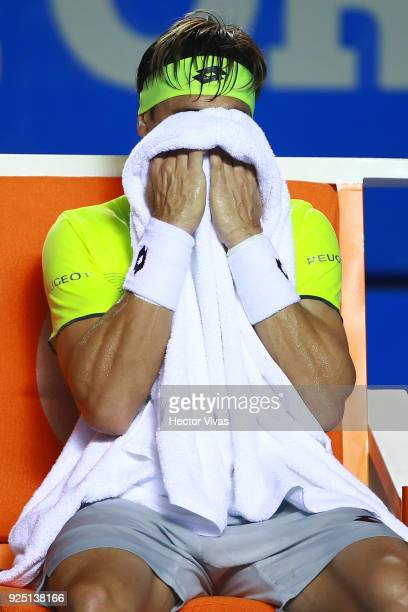 David Ferrer of Spain towels down during the match between David Ferrer of Spain and Andrey Rublev of Russia as part of the Telcel Mexican Open 2018...