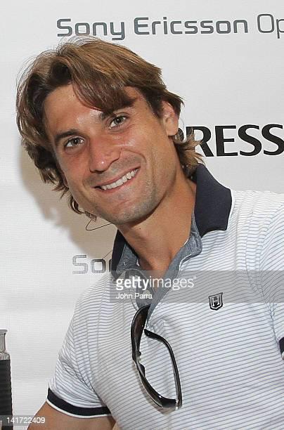 David Ferrer stops by the Nespresso Miami Boutique on March 22 2012 in Miami Florida