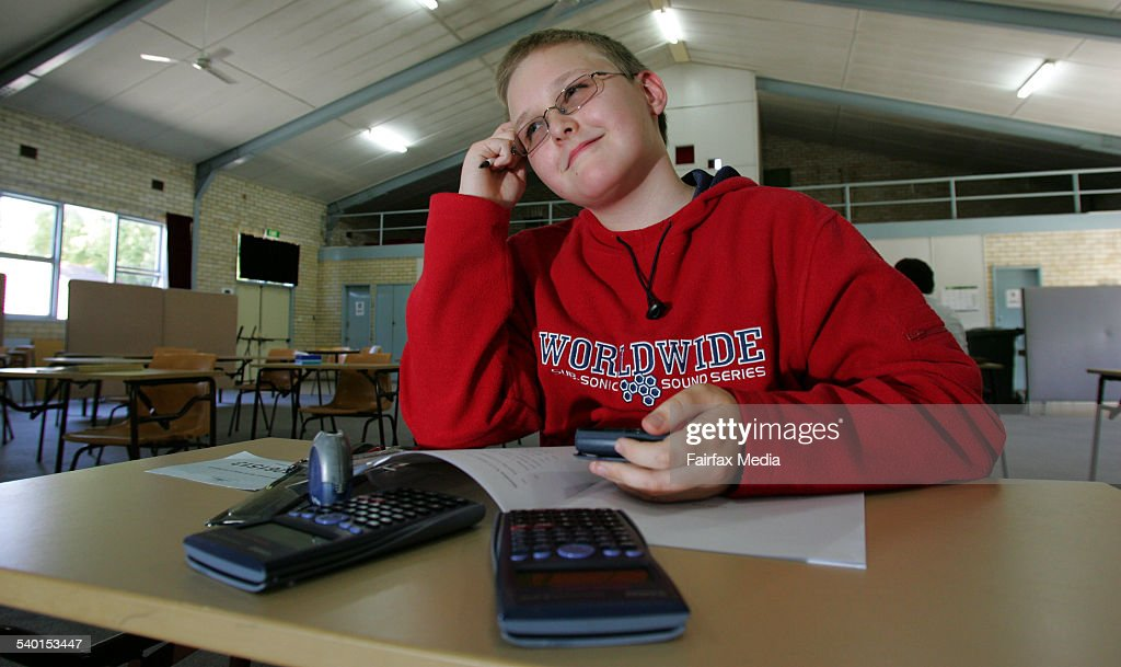 David Ferris, 12, from St Phillip's Christian College in Newcastle, who is sitting an HSC maths exam. He later scored 90, 30 October 2006 NCH Picture by STEFAN