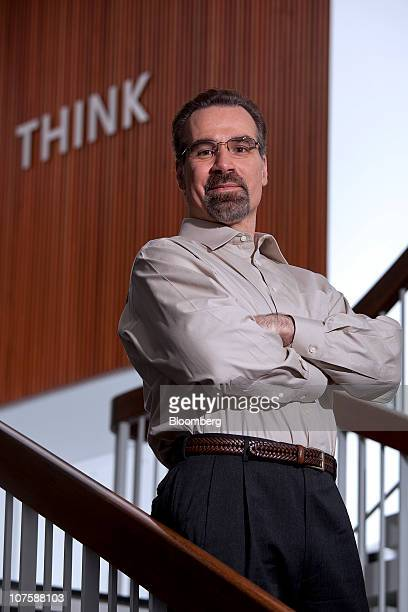 David Ferrucci, head scientist for the International Business Machines Corp. Watson Deep Q&A Project, poses for a photograph at the company's Thomas...