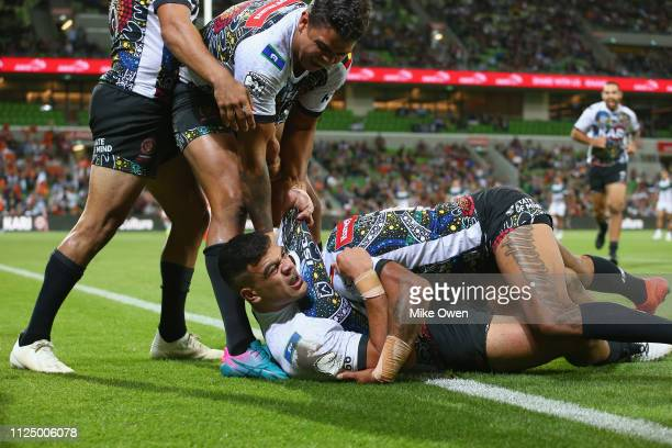 David Fifita of Indigenous Man's All Stars celebrates after scoring a try during the NRL exhibition match between the Indigenous All Stars and the...