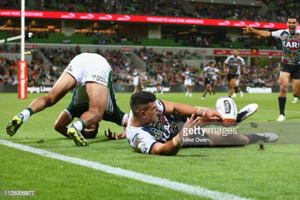 David Fifita of Indigenous Man's All Stars scores a try during the NRL exhibition match between the Indigenous All Stars and the Maori All Stars at...