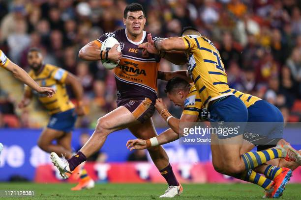 David Fifita of the Broncos breaks free from a tackle 1during the round 24 NRL match between the Brisbane Broncos and Parramatta Eels at Suncorp...