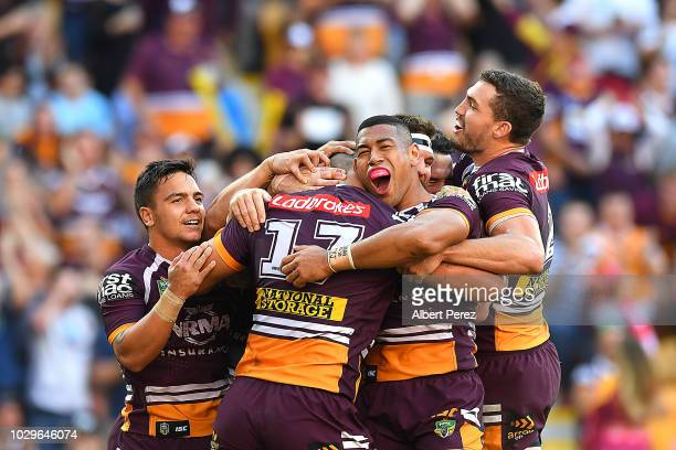 David Fifita of the Broncos celebrates with team mates after scoring a try during the NRL Elimination Final match between the Brisbane Broncos and...