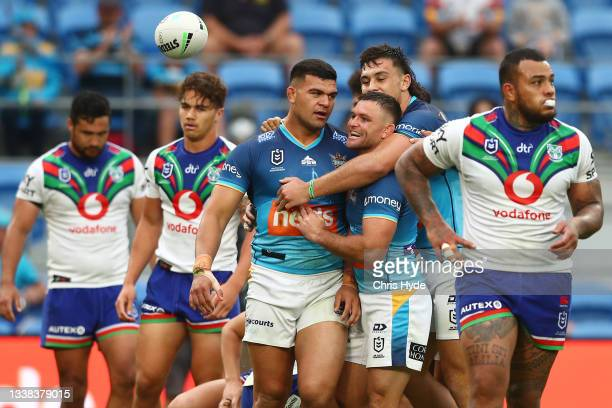 David Fifita of the Titans celebrates a try during the round 25 NRL match between the Gold Coast Titans and the New Zealand Warriors at Cbus Super...