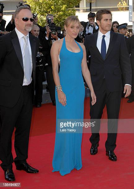 David Fincher Chloe Sevigny and Jake Gyllenhaal during 2007 Cannes Film Festival Zodiac Premiere at Palais de Festival in Cannes France