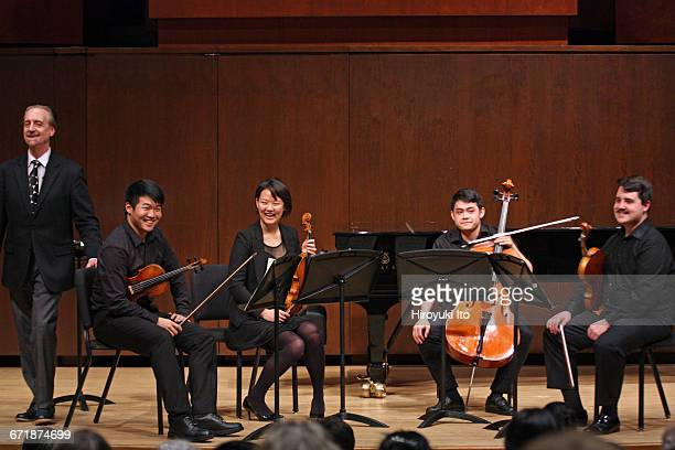 David Finckel Master Class at Juilliard School's Paul Hall on Monday afternoon March 21 2016 This image With Nova Quartet From left David Finckel...