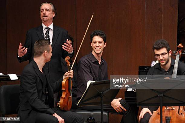 David Finckel Master Class at Juilliard School's Paul Hall on Monday afternoon, March 21, 2016. This image: With Zelda Quartet. From left, Philip...