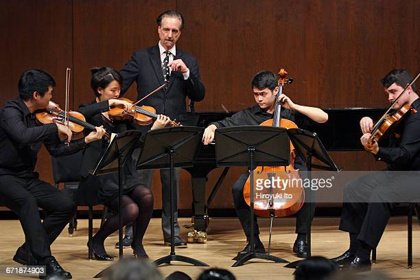 David Finckel Master Class at Juilliard School's Paul Hall on Monday afternoon March 21 2016 This image With Nova Quartet From left David Chang...